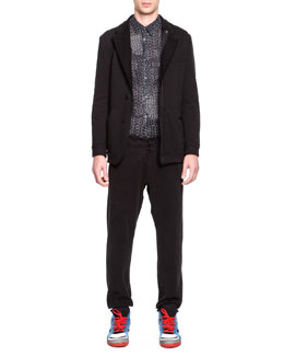 Maison Martin Margiela Soft Jersey Notched Jacket, Printed Button-Down Shirt & Jersey Button-Front Sweatpants