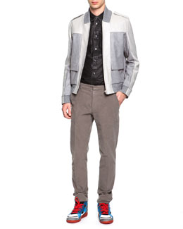 Maison Martin Margiela Mixed Media Bomber Jacket, Coated Poplin Button-Down Shirt & Slim Fit Moleskin Pants