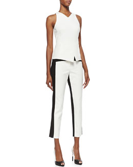 Tibi City Stretch Sleeveless Asymmetric Hem Top & City Stretch Colorblocked Cropped Pants