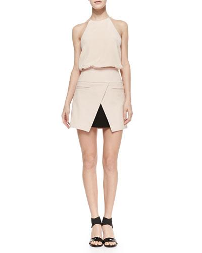 Tibi Halter-Neck Camisole & City Stretch Open Tulip Hem Miniskirt