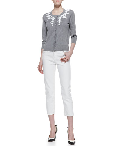 kate spade new york dree embellished collar cardigan & broome street capri pants