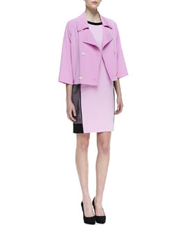 DKNY Cropped Double-Breasted Trench Coat & Short-Sleeve Colorblock Dress