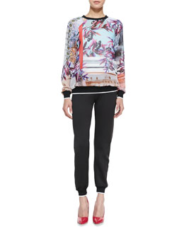 Clover Canyon Olive Tree Georgette Sweatshirt & Knit Contrast-Trim Pants