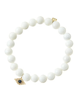 Sydney Evan 8mm Faceted White Agate Beaded Bracelet with 14k Yellow Gold/Diamond Small Evil Eye Charm (Made to Order)