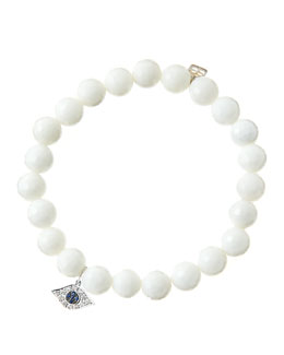 Sydney Evan 8mm Faceted White Agate Beaded Bracelet with 14k White Gold/Diamond Small Evil Eye Charm (Made to Order)