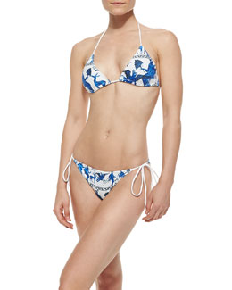 Clover Canyon Corinthian Vase Triangle Swim Top & Tie-Side Swim Bottom