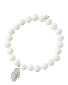 Sydney Evan 8mm Faceted White Agate Beaded Bracelet with 14k White Gold/Diamond Medium Hamsa Charm (Made to Order)