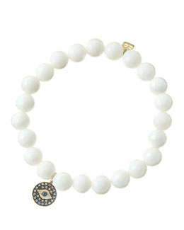 Sydney Evan 8mm Faceted White Agate Beaded Bracelet with 14k Gold/Rhodium Diamond Small Evil Eye Charm (Made to Order)