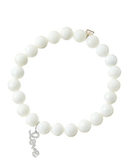 Sydney Evan 8mm Faceted White Agate Beaded Bracelet with 14k White Gold/Diamond Love Charm (Made to Order)