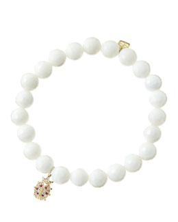 Sydney Evan 8mm Faceted White Agate Beaded Bracelet with 14k Gold/Diamond Medium Ladybug Charm (Made to Order)