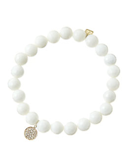 Sydney Evan 8mm Faceted White Agate Beaded Bracelet with Mini Yellow Gold Pave Diamond Disc Charm (Made to Order)