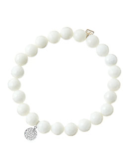 Sydney Evan 8mm Faceted White Agate Beaded Bracelet with Mini White Gold Pave Diamond Disc Charm (Made to Order)