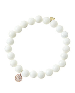Sydney Evan 8mm Faceted White Agate Beaded Bracelet with Mini Rose Gold Pave Diamond Disc Charm (Made to Order)