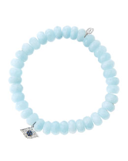 Sydney Evan 8mm Faceted Aquamarine Beaded Bracelet with 14k White Gold/Diamond Small Evil Eye Charm (Made to Order)