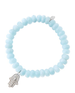Sydney Evan 8mm Faceted Aquamarine Beaded Bracelet with 14k White Gold/Diamond Medium Hamsa Charm (Made to Order)