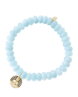Sydney Evan 8mm Faceted Aquamarine Beaded Bracelet with 14k Gold/Diamond Sitting Buddha Charm (Made to Order)