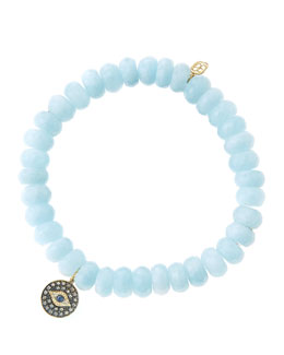 Sydney Evan 8mm Faceted Aquamarine Beaded Bracelet with 14k Gold/Rhodium Diamond Small Evil Eye Charm (Made to Order)
