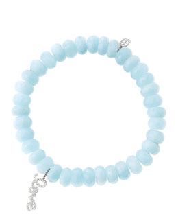 Sydney Evan 8mm Faceted Aquamarine Beaded Bracelet with 14k White Gold/Diamond Love Charm (Made to Order)