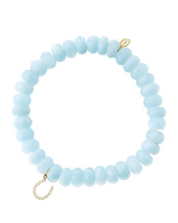 Sydney Evan 8mm Faceted Aquamarine Beaded Bracelet with 14k Yellow Gold/Micropave Diamond Horseshoe Charm (Made to Order)