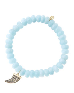 Sydney Evan 8mm Faceted Aquamarine Beaded Bracelet with 14k Gold/Diamond Medium Horn Charm (Made to Order)