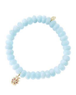 Sydney Evan 8mm Faceted Aquamarine Beaded Bracelet with 14k Gold/Diamond Medium Ladybug Charm (Made to Order)
