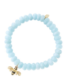 Sydney Evan 8mm Faceted Aquamarine Beaded Bracelet with 14k Gold/Diamond Bee Charm (Made to Order)