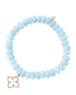Sydney Evan 8mm Faceted Aquamarine Beaded Bracelet with 14k Rose Gold/Diamond Moroccan Flower Charm (Made to Order)
