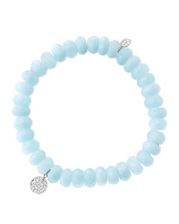 Sydney Evan 8mm Faceted Aquamarine Beaded Bracelet with Mini White Gold Pave Diamond Disc Charm (Made to Order)