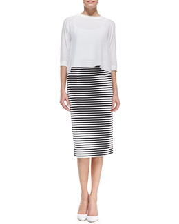 Tibi Silk 3/4-Sleeve Sweatshirt & Racetrack Striped Pencil Skirt