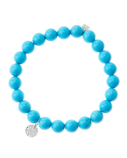 Sydney Evan 8mm Turquoise Beaded Bracelet with Mini White Gold Pave Diamond Disc Charm (Made to Order)