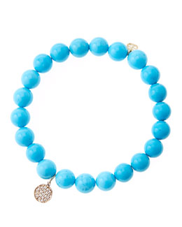 Sydney Evan 8mm Turquoise Beaded Bracelet with Mini Rose Gold Pave Diamond Disc Charm (Made to Order)