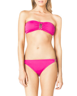 MICHAEL Michael Kors  Bandeau Bikini Top & Bottom with Hardware