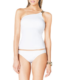 MICHAEL Michael Kors  One-Shoulder Tankini Top with Hardware & Classic Hipster Swim Bottom