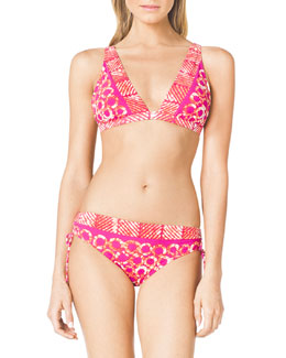 MICHAEL Michael Kors  Mixed-Print Swim Top & Side-Ruch Swim Bottom