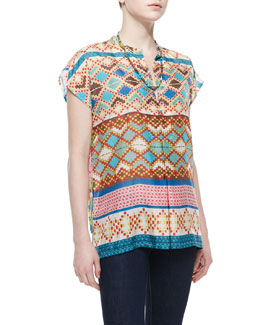 Johnny Was Collection Mixed-Print Silk Short-Sleeve Blouse & Single-Strand Multi-Bead Necklace