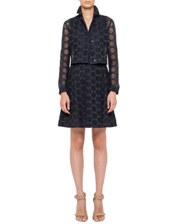 Akris punto Three-Quarter Sleeve Bolero & V-Neck Dress with Pleated Lace Skirt