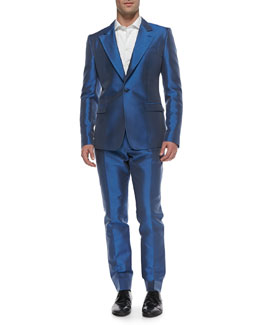 Dolce & Gabbana Shantung One-Button Blazer, Evening Pants & Long-Sleeve Big-Button Shirt