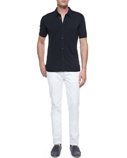 Dolce & Gabbana Silk Button-Front Polo Shirt & White Washed Denim Jeans