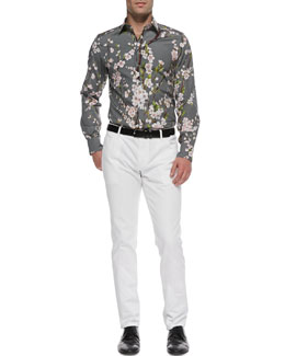 Dolce & Gabbana Peach-Blossom-Print Shirt & White Washed Denim Jeans