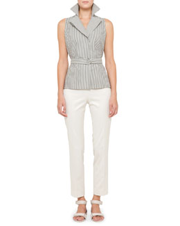 Akris punto Belted Blouse & Franca Side-Zip Ankle Pants