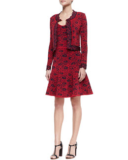ZAC Zac Posen Wendy Long-Sleeve Floral Cardigan & Sleeveless Dress