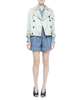 Burberry Brit Cropped Trench Coat, Long-Sleeve Plaid Chiffon Blouse & Cuffed Twill Shorts