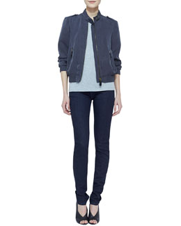 Burberry Brit Tech Bomber Jacket with Epaulets, Knit Short-Sleeve Top & Denim Skinny-Leg Jeans