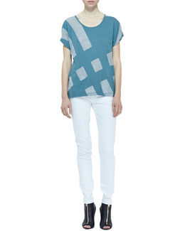 Burberry Brit Knit Colorblock Short-Sleeve Top & Denim Skinny Jeans