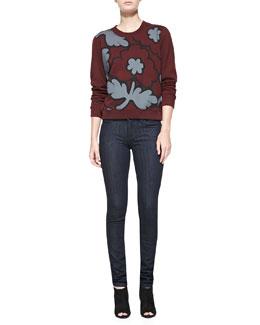 Burberry Brit Knit Crewneck Sweatshirt & Denim Skinny Jeans