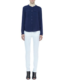 Burberry Brit Voile Two-Pocket Blouse & Denim Skinny-Leg Jeans