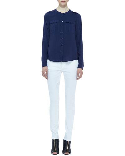 Burberry Brit Voile Two-Pocket Blouse & Denim Skinny-Leg Jeans