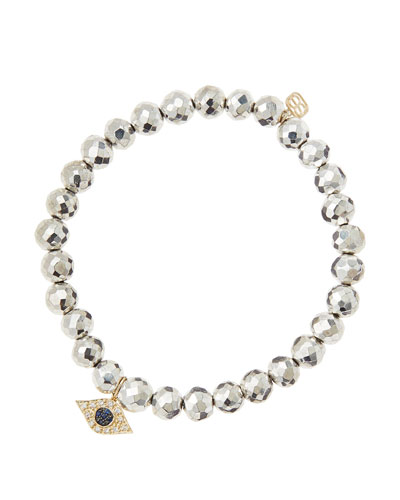 Sydney Evan 6mm Faceted Silver Pyrite Beaded Bracelet with 14k Yellow Gold/Diamond Small Evil Eye Charm (Made to Order)
