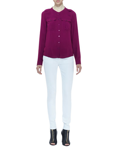 Burberry Brit Voile Two-Pocket Blouse & Denim Skinny Jeans