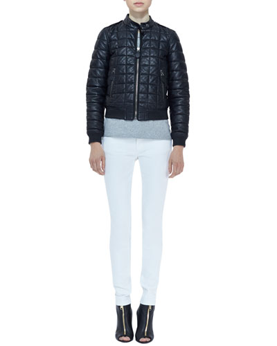 Burberry Brit Quilted-Lambskin Long-Sleeve Bomber Jacket, Knit Short-Sleeve Top & Denim Skinny-Leg Jeans